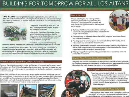 Brochure for Community Center Public Relations