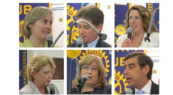 Los Altos City Council Candidates 2012, top - Megan Satterlee, Jerry Sorensen, Jan Pepper. bottom - Jeannie Bruins, Anabel Pelham, Jon Baer