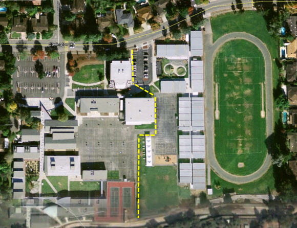 """Blach campus from 2003-2005. The LASD temporary camp on the right hand side. Dotted line is a """"soft"""" boundary."""