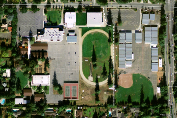 Egan Junior High, Los Altos, California in 2005. LASD Temporary Camp is show on right hand side. Source: Google Earth.