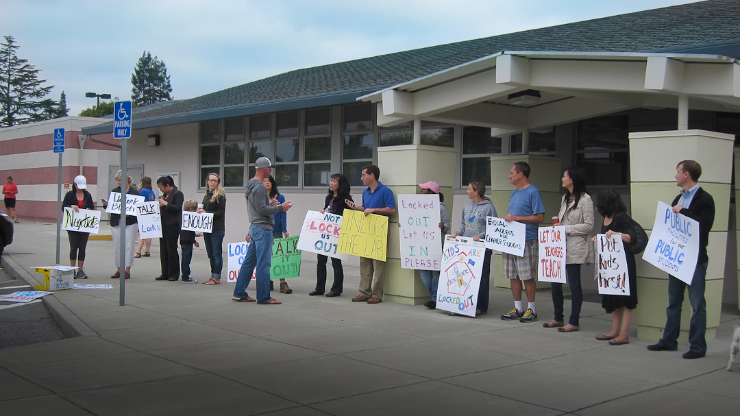 August 6, 2013. BCS parent protest staff lockout at Blach School Facilities