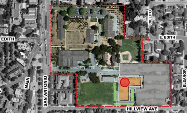 Los Altos Community Center - site option 5. Building ids brown. Red dot is Rec. Dept Entrance. Grey is parking lots. Green is soccer field