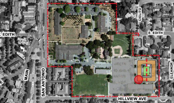 Los Altos Community Center - site option 4. Building ids brown. Red dot is Rec. Dept Entrance. Grey is parking lots. Green is soccer field