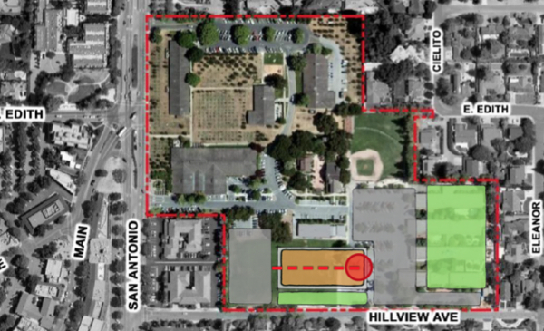 Los Altos Community Center - site option 1. Building ids brown. Red dot is Rec. Dept Entrance. Grey is parking lots. Green is soccer field