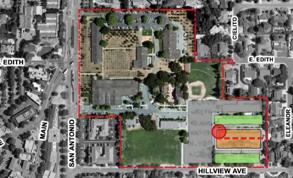 Los Altos Community Center - site option 2. Building ids brown. Red dot is Rec. Dept Entrance. Grey is parking lots. Green is soccer field