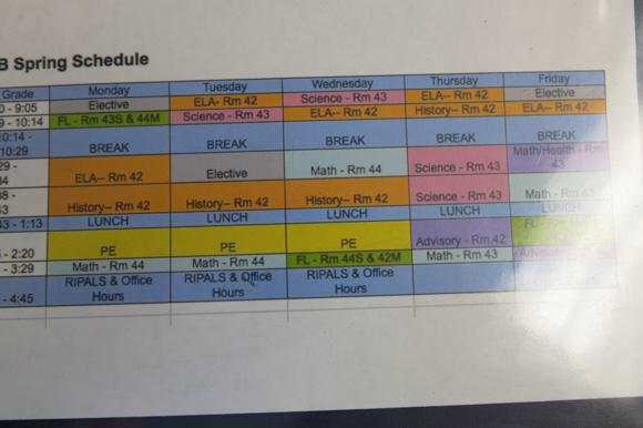 a school schedule