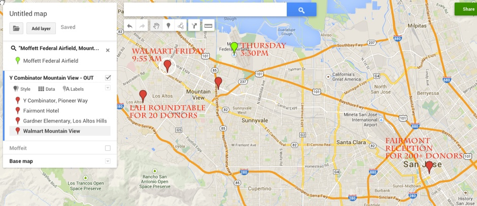 Map of Obama destinations Silicon Valley
