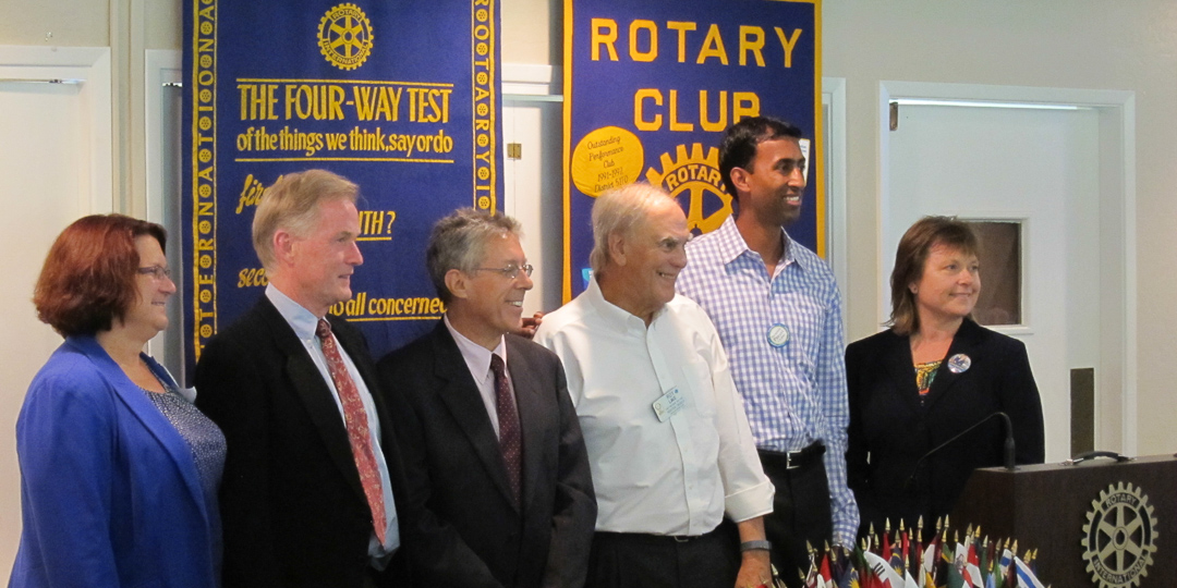 5 LASD board candidates with Roy Lave Sept. 4 2014 at Los Altos Rotary