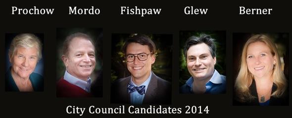 Los Altos City Council Candidates 2014, Mary Prochow, Jean Mordo, Jarrett Fishpaw, Alex Glew, Karen Berner