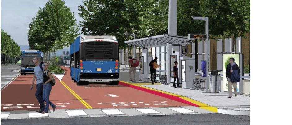 Depiction of dedicated bus lanes on El Camino Real