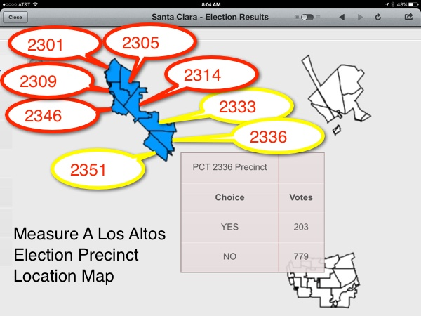 Map of Locations of the 8 precincts for the Measure A Los Altos election