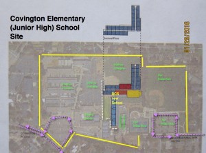 Close up of a proposed co-location of a 900 student Bullis Charter School on the School District Covington School site.