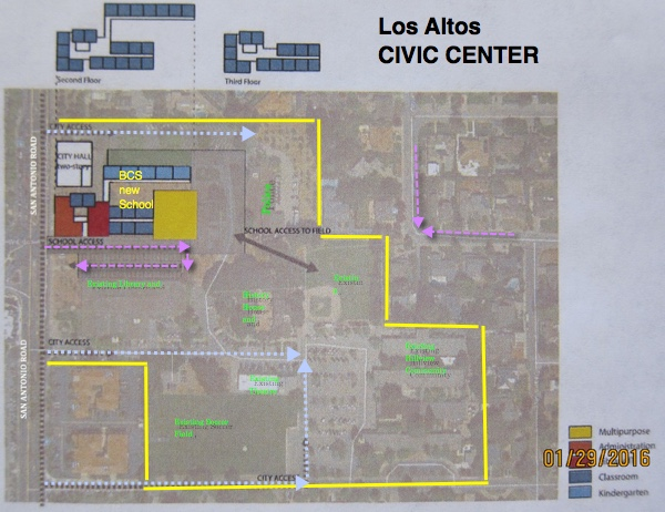 BCS Co-location sites. Here is a close up of the details of the Civic Center site with an idea for a three story school. If you click on the photo you can see a LARGE version.