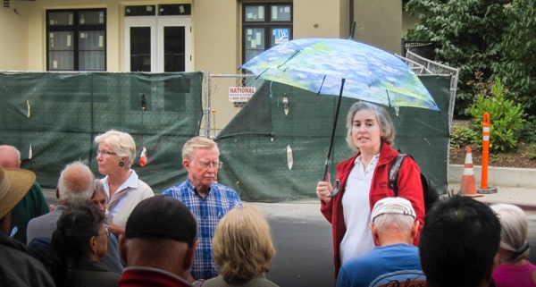 Los Altos Councilmember Megan Satterlee at the 2014 Downtown tours which stimulated the formation of ad hoc committees of residents to make suggestions for zoning changes downtown