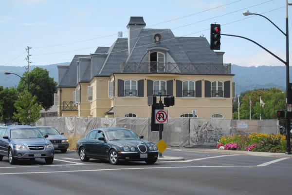 The Los Altos Downtown Buildings Committee included a photo similar to this one, showing how new buildings are changing views. Shown Enchante Hotel. The PTC decided that views are not a consideration to consider when evaluating redevelopment.