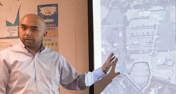 City traffic engineer Cedric Novenario discusses school traffic a potential LASD BCS co-location sites