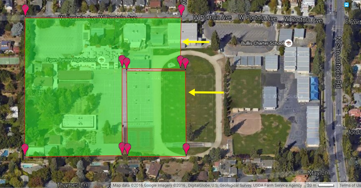 Downsizing the Egan track to a normal track allow the track to move left creating more space for 900 instead of 500 students to be housed on BCS land