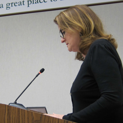 Catherine Nunes spoke for keeping the City's 18 acres for City uses and for a more complete visioning of the Civic Center.