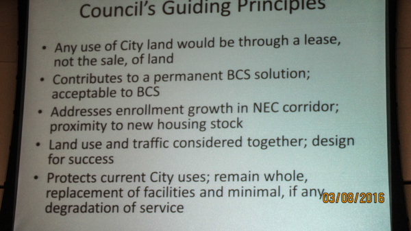 lease, not a sale. Actually is solves the problems of siting BCS and NEC growth. No or minimal impact on City services.