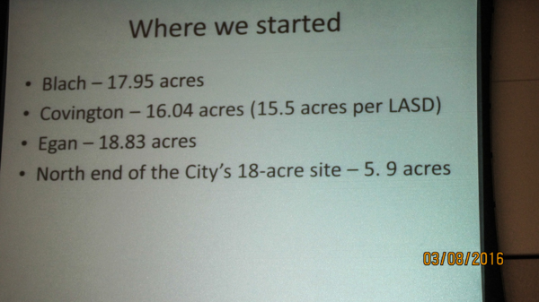 Comparison of acreage on Blach, Covington, Egan, and City's original offer of N. end of Civic Center.