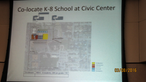 Sketch of a way to site a 900 student school on the N. end of the Civic Center