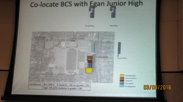 Sketch of a way to site a 900 student school on Egan
