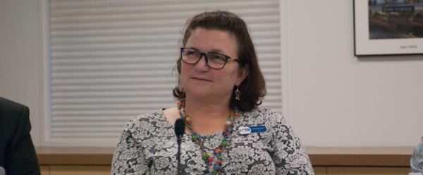 Tamara Logan trustee Los Altos School District, night of some LASD tenth site BCS decisions.
