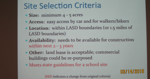 BCS Tenth Site Selection Criteria. Note the modification in red which allows the shopping center on El Camino, Village Court, to be considered.