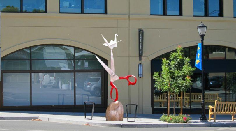 Funky Sculpture at Gateway to Los Altos,- Rock, Scissors, Paper