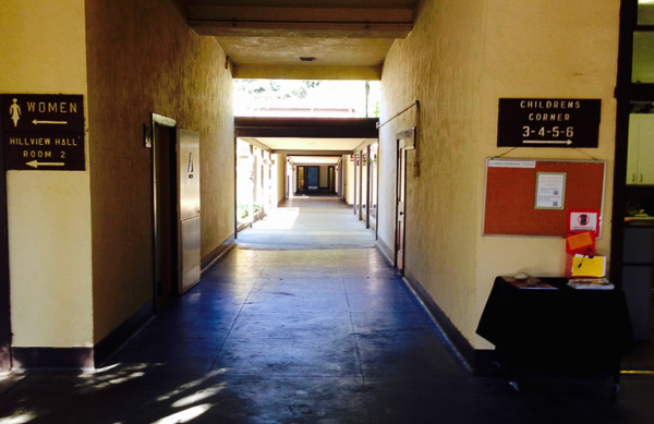 Photo of dank walkways at the aging Hillview Community Center