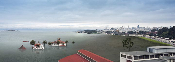 rendering of sea level rise SF Bay Area