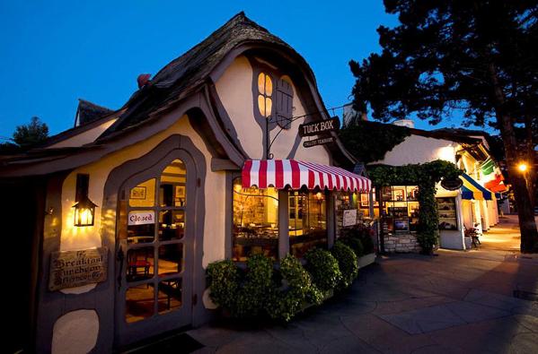 shot of Carmel shop sidewalks after dark...no people. Los Altos Follies 2016