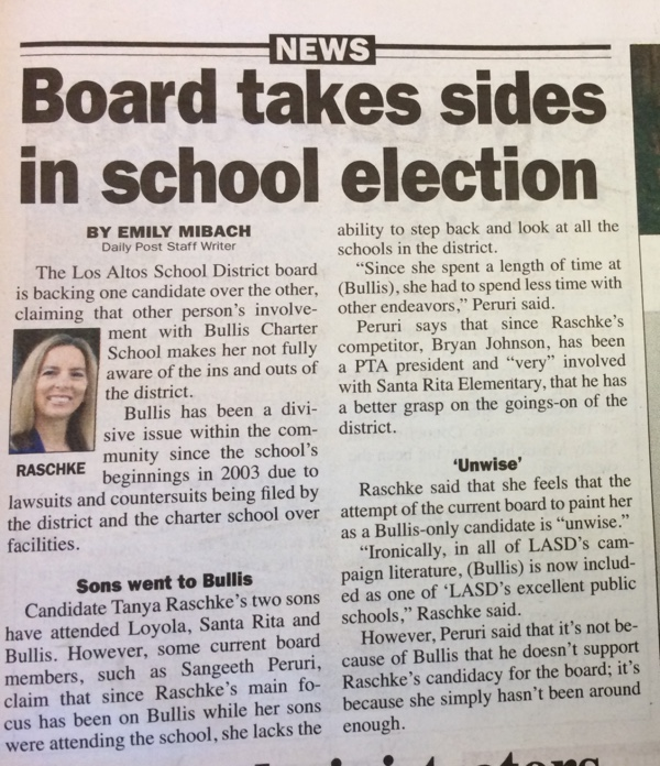 shot of Daily Post Article - Board takes sides in school election
