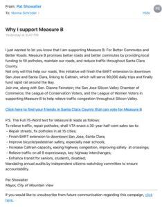Pat Showalter uses Voter Circle to support Measure B Santa Clara County