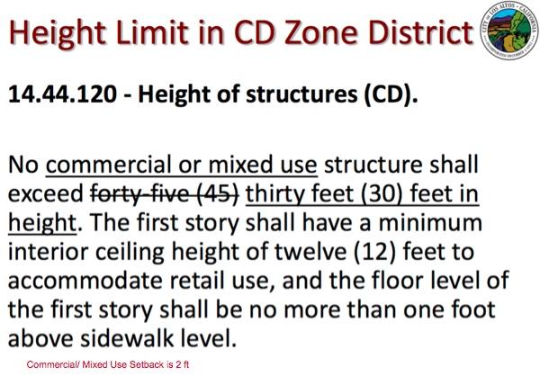 Los Altos ordinance CD, 30 feet
