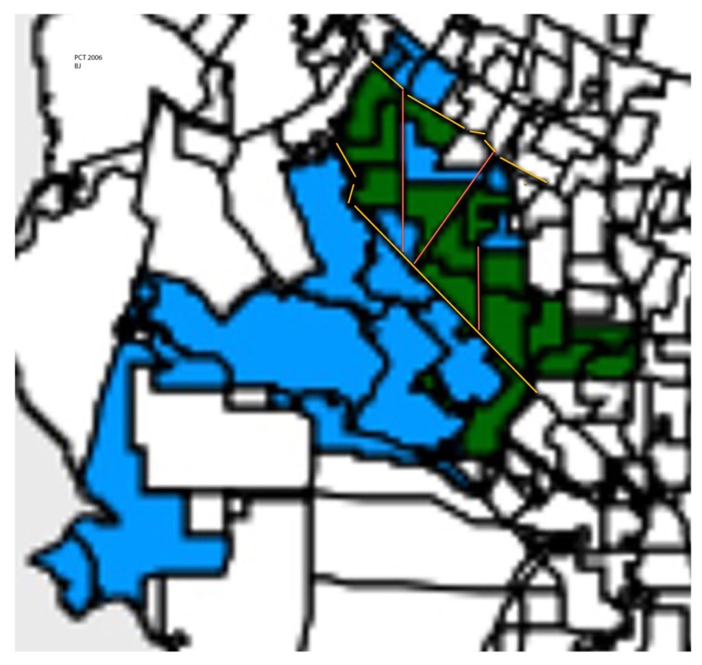 Registrar's map of Johnson (green) vs. Raschke (blue) majority in reporting precincts. Yellow lines re ElCamino and Foothill Expwy. Red lines are San Antonio ElMonte and Miramonte...per Lalahpolitico