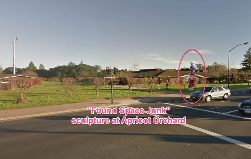 Found Space Sculpture landing at Los Altos Apricot Orchard