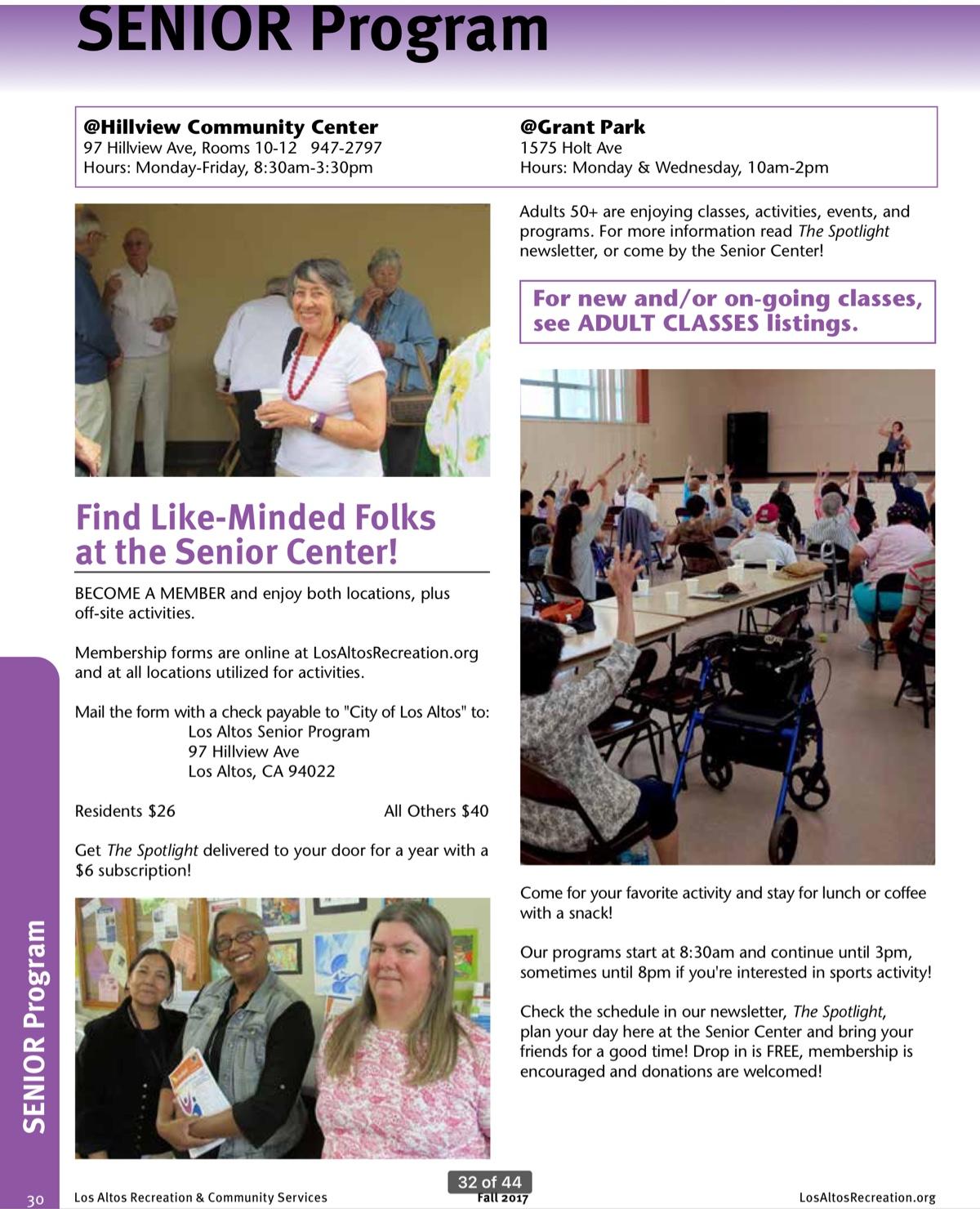 Page 30 of the City of Los Altos Recreation Brochure
