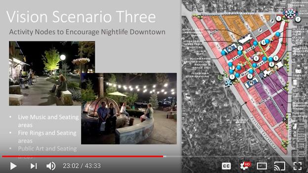 Los Altos Downtown Vision, nighttime activity nodes