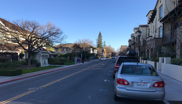 Los Altos First Street condos throw shade 3:30 pm