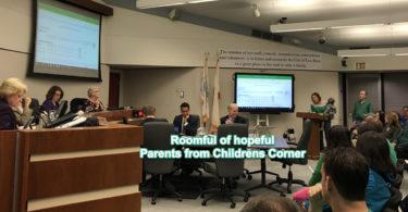 Childrens Corner parents at April 10, 2018 Council meeting