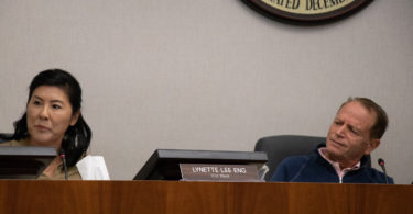 Council member Lynette Lee Eng receives a puzzled look from Mayor Jean Mordo, City of Los Altos, Save Our Parks Intiative