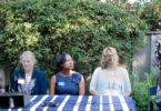 right to left, Teresa Morris, Nancy Bremeau, Neysa Fligor, Anita Enander, and a LAH council candidate, Los Altos city council candidates 2018