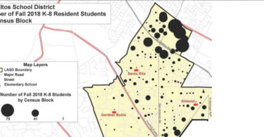 LASD Demographer map of k-8 students by census block
