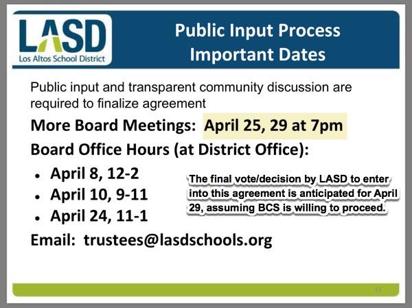 LASD, 10-year ageement, Bullis Charter School, public input schedule