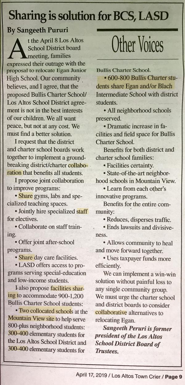 Sangeeth Peruri, LASD, anti-charter propaganda, Bullis Charter School