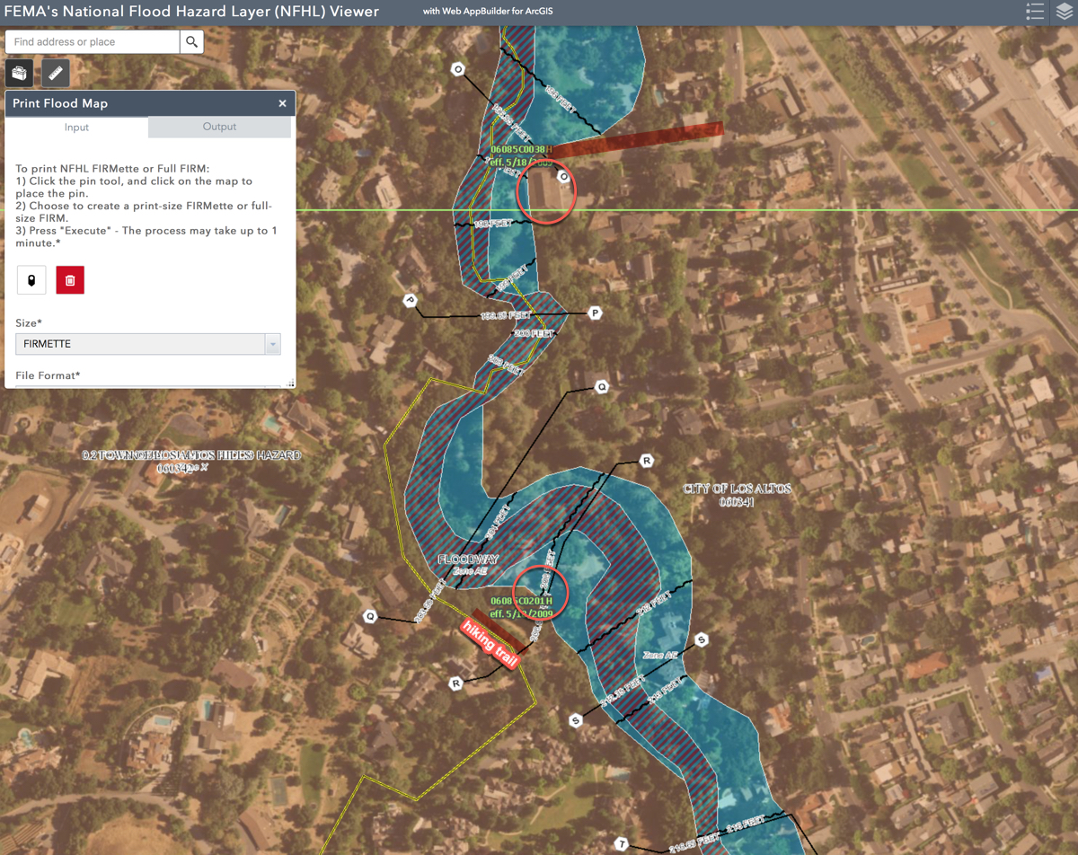 FEMA Map, Los Altos, Halsey House, Garden House