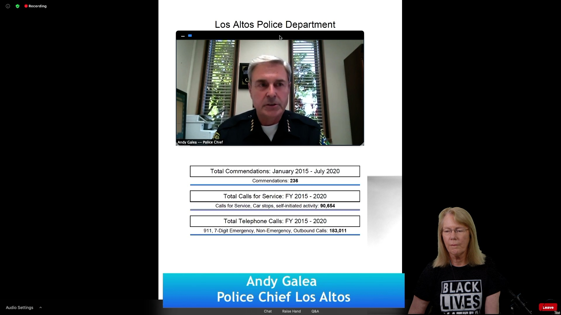 Los Altos Police Chief presents Officer Complaint info