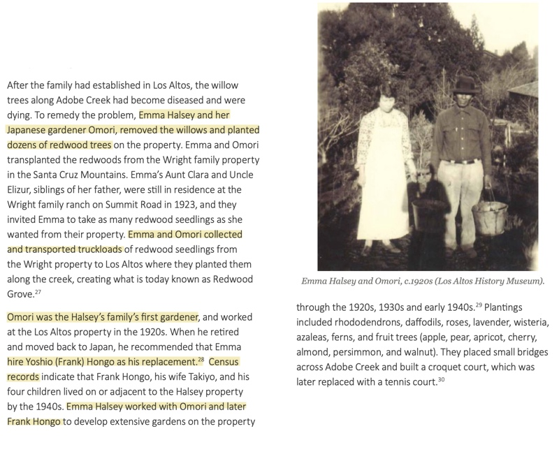 Emma Wright Halsey with the Japanese gardener who planted what would become Redwood Grove Nature Preserve
